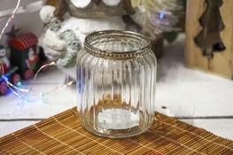 KOOPMAN Świecznik szklany okrągły d - 7 cm