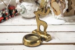 KOOPMAN Świąteczny świecznik metalowy złoty- mix wzorów