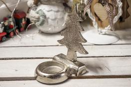 KOOPMAN Świąteczny świecznik metalowy srebrny - mix wzorów
