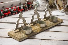 KOOPMAN Potrójny świecznik świąteczny - mix wzorów