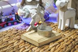 KOOPMAN Świecznik metalowy choinka srebrny