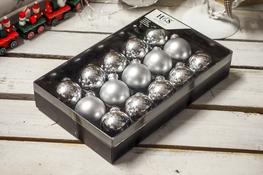 KOOPMAN Bombki choinkowe 4.5 cm srebrne, 15 szt.