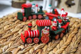 KOOPMAN Pociąg świąteczny drewniany 41 cm