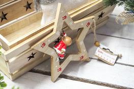 KOOPMAN Drewniana zawieszka świąteczna z figurką mix wzorów