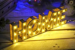 KOOPMAN Dekoracyjny napis drewniany HOME, diody LED