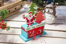 KOOPMAN Drewniany kalendarz świąteczny mix kolorów