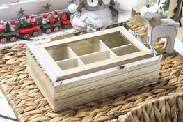 KOOPMAN Pudełko drewniane na herbatę 24 x 15 x 7 cm
